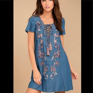 Lulu's chambray lace up front embroidered dress
